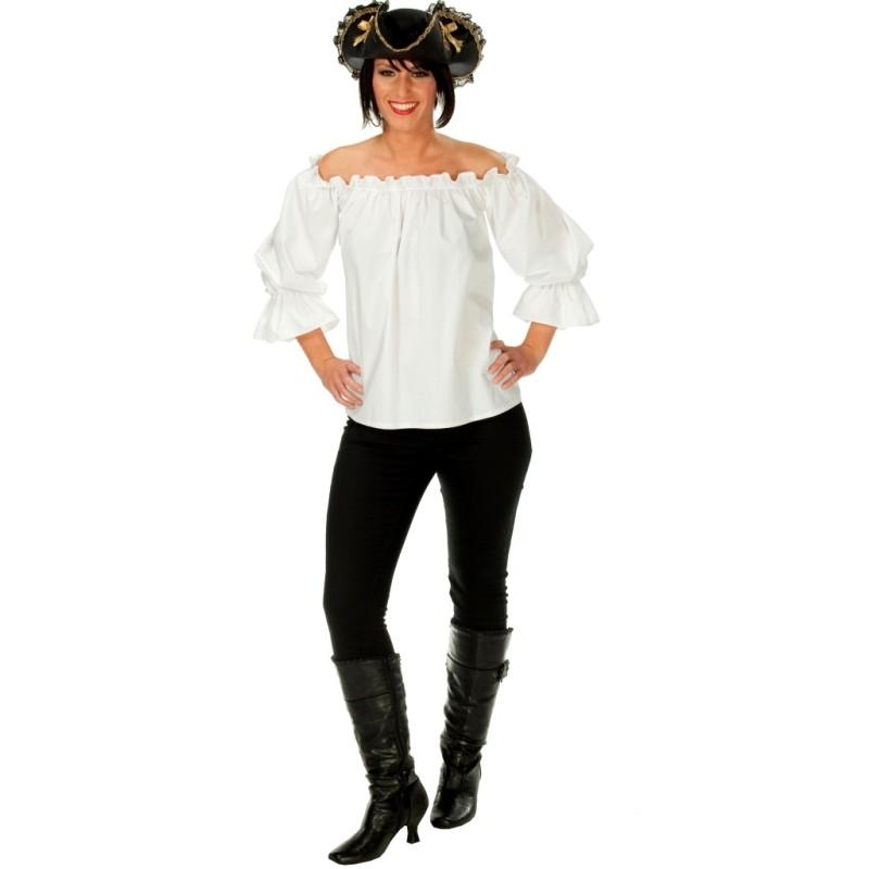 d guisement blouse pirate blanche femme achat d guisements pirate. Black Bedroom Furniture Sets. Home Design Ideas