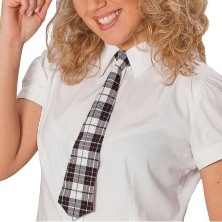 Cravate écossaise gris blanc noir adulte