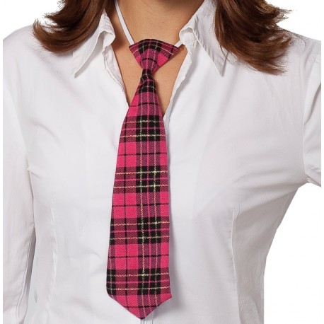 Cravate écossaise fuchsia noir adulte