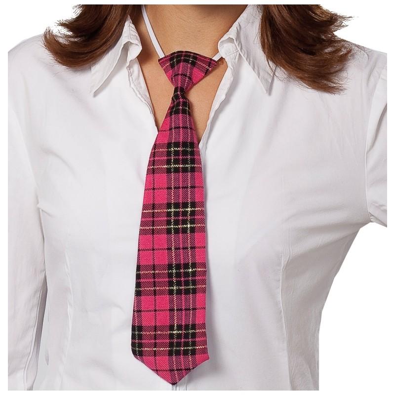 Cravate écossaise fuchsia noir adulte : accessoire déguisement