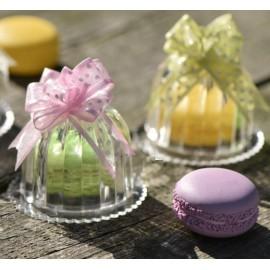 Boîte à dragées cloche à gâteau transparente les 3