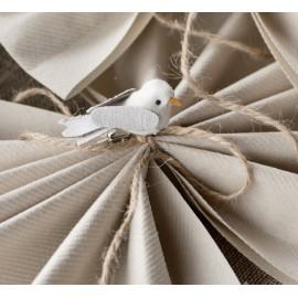 Mini oiseau en lin ivoire sur pince les 2