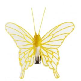 Papillons jaunes transparents sur pince les 4