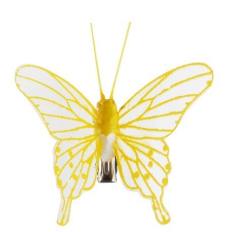 Papillon jaune transparent sur pince les 4