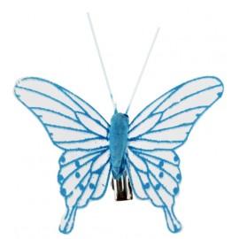 Papillons transparents turquoise sur pince les 4