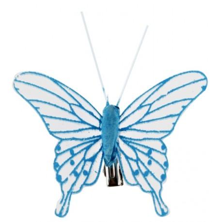 Papillon transparent turquoise sur pince les 4