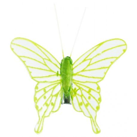 Papillon transparent vert anis sur pince les 4