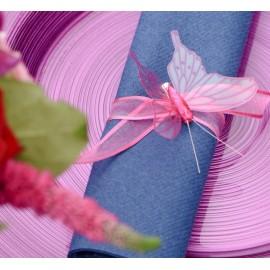 Papillon fuchsia transparent sur pince les 4