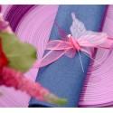 Papillons fuchsia transparents sur pince les 4
