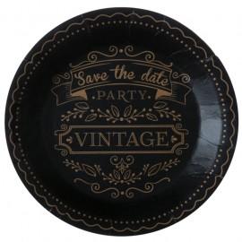Assiette carton vintage noire 22.5 cm les 10
