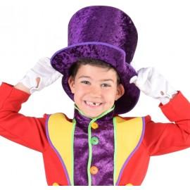 Chapeau haut de forme violet enfant luxe