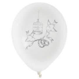 Ballons mariage cage et oiseaux 23 cm les 8