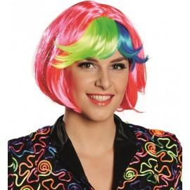 Perruque courte rose frange couleur femme