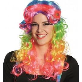 Perruque bouclée multicolore femme
