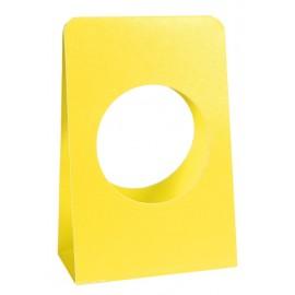 Portants boule à dragées 5 cm carton jaune les 6
