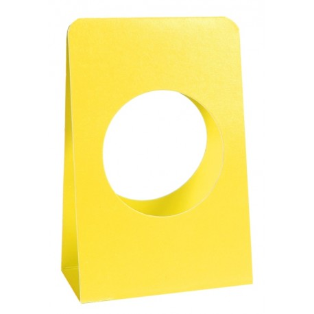 Portant boule à dragées 5 cm carton jaune les 6