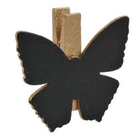 Ardoise papillon or sur pince déco les 6