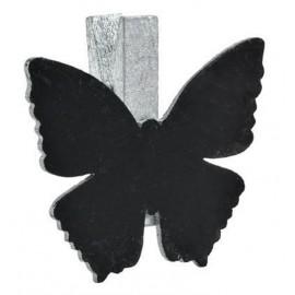 Ardoises papillon argent sur pince déco les 6