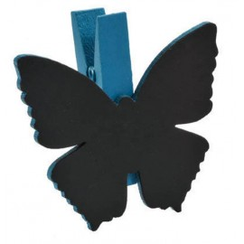 Ardoises papillon turquoise sur pince déco les 6