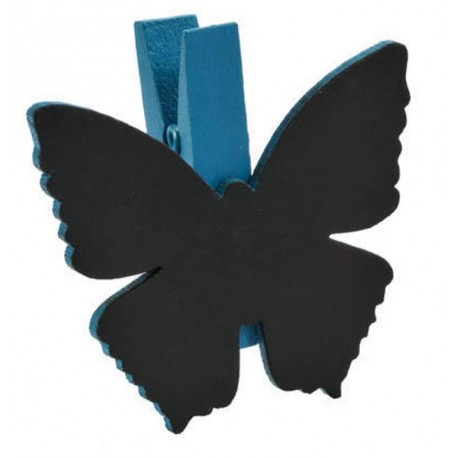 Ardoise papillon turquoise sur pince déco les 6