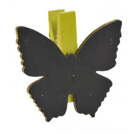 Ardoise papillon vert anis sur pince déco les 6