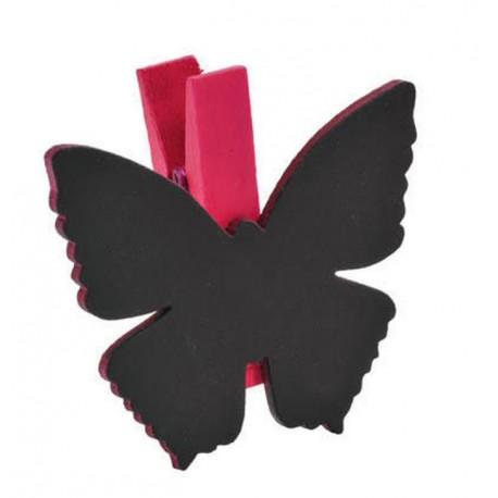 Ardoise papillon fuchsia sur pince déco les 6