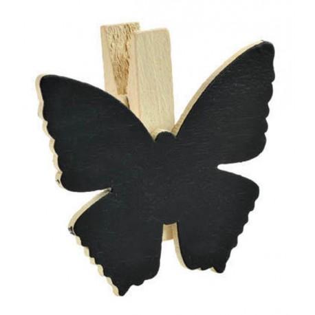 Ardoise papillon naturel sur pince déco les 6