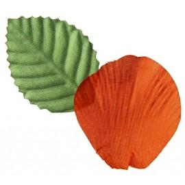Pétales de rose orange en tissu avec feuilles les 100