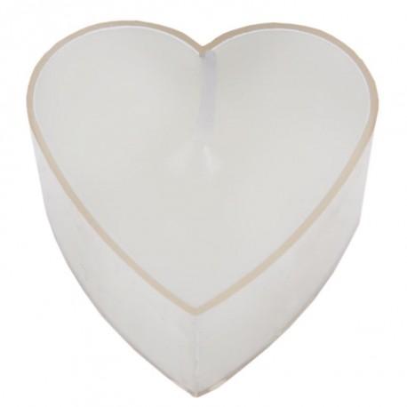 Bougie chauffe plat coeur blanc les 4