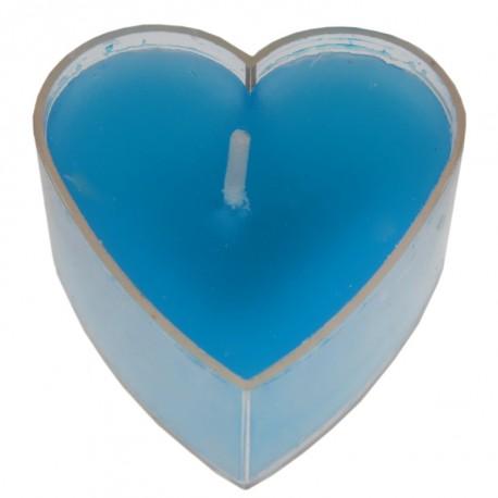 Bougie chauffe plat coeur turquoise les 4