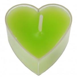 Bougies chauffe plat coeur vert anis les 4