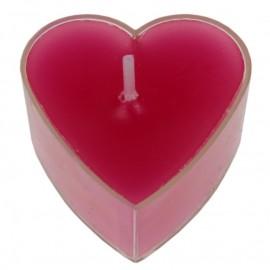 Bougies chauffe plat coeur fuchsia les 4