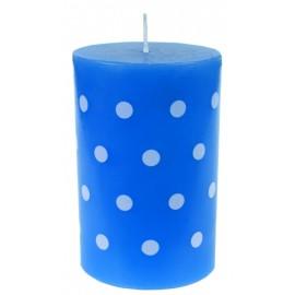 Bougie bleue à pois blancs 11 cm