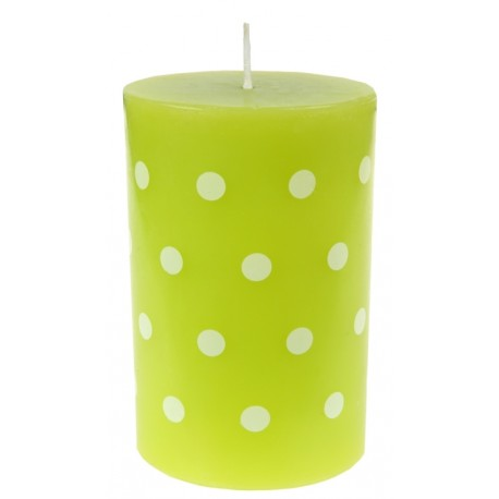 Bougie vert anis à pois blancs 11 cm