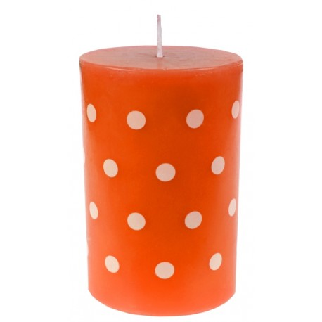 Bougie orange à pois blancs 11 cm