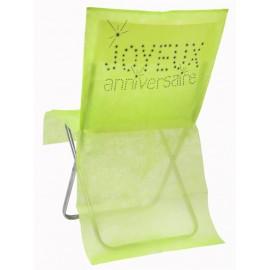 Housse de chaise anniversaire intissé vert les 6