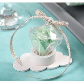 Boîte à dragées diamant plexi transparent les 4
