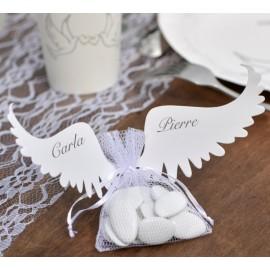 Etiquettes ailes d'ange blanc carton les 6