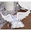 Etiquette ailes d'ange blanc carton les 6