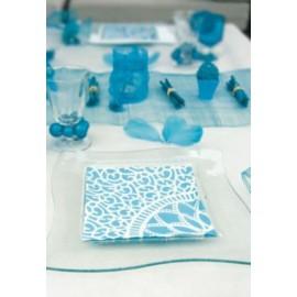Serviettes de Table Turquoise Fleurs les 20