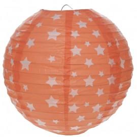 Lanterne boule papier corail à étoiles 20 cm les 2