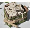 Panier coeur en bois naturel avec mousse