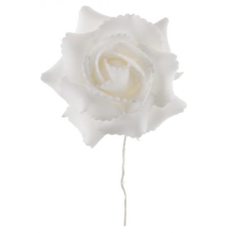 Rose blanche sur tige les 4 - Rose artificielle