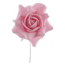 Rose rose sur tige les 4 Rose artificielle