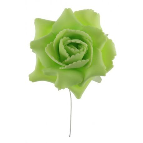 Rose vert anis sur tige les 4 - Rose artificielle