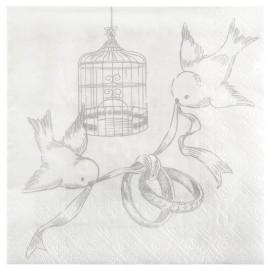 Serviette de table cage et oiseaux papier les 20