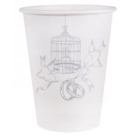 Gobelet carton cage et oiseaux les 10