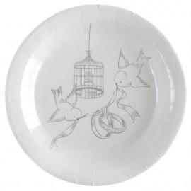 Assiette carton cage et oiseaux 22.5 cm les 10