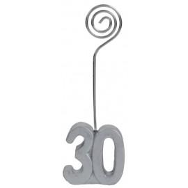 Marque-place anniversaire 30 ans argent les 2