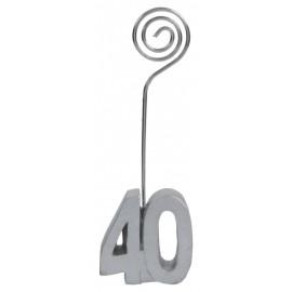 Marque-place anniversaire 40 ans argent les 2